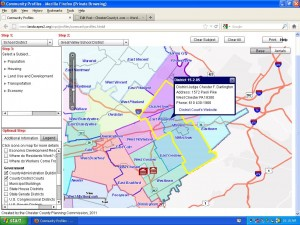 Community profiles map of the Chester County Planning Commision.